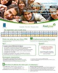 Calendrier 2012 - 2013 des collectes de papiers-cartons et PMC