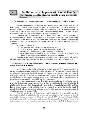 Stadiul actual al implementarii serviciilor de guvernare electronica in ...