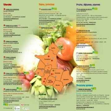 Viandes Pains, brioches Fruits, légumes, plantes Produits laitiers ...
