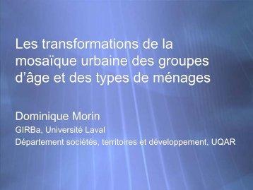Les transformations de la mosaïque urbaine des groupes d'âge et ...