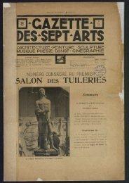 Gazette des sept arts n°8, 20/05/1923
