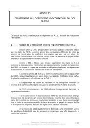 Article 15 : dépassement du coefficient d'occupation du sol