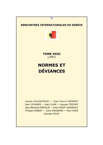 Normes et déviances - Rencontres Internationales de Genève
