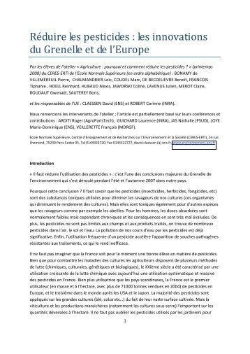Réduire les pesticides : les innovations du Grenelle ... - ceres-erti - Ens