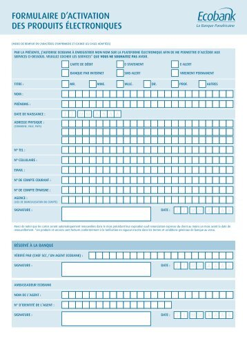 e-Products Form - Ecobank