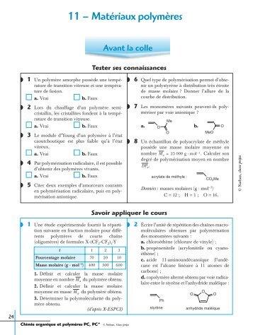 11 – Matériaux polymères - Classe Prépa scientifique