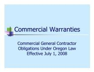 Commercial Warranties - Construction Contractors Board