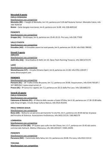 Calendario podistico - La Gazzetta dello Sport