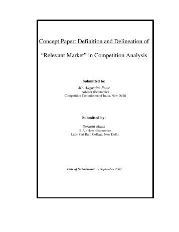 """Concept Paper: Definition and Delineation of """"Relevant Market"""" in ..."""