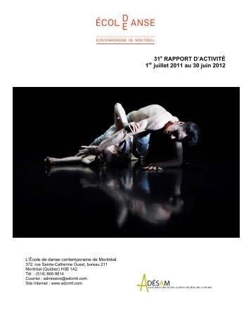 Rapport d'activité 2011-2012 - École de danse contemporaine de ...
