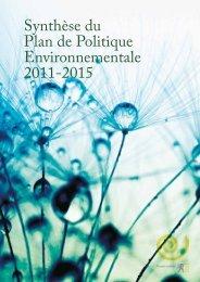 Synthèse du Plan de Politique Environnementale 2011-2015 - Lne.be