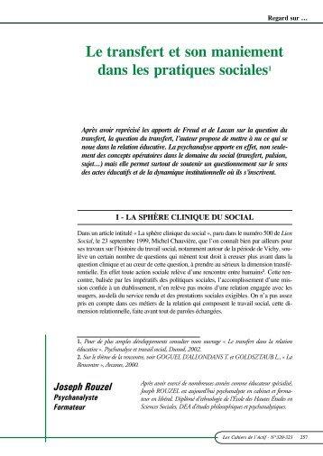 Le transfert et son maniement dans les pratiques sociales1 - ACTIF