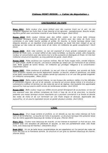 Téléchargez le pdf de nos millésimes - Château Mont-Redon