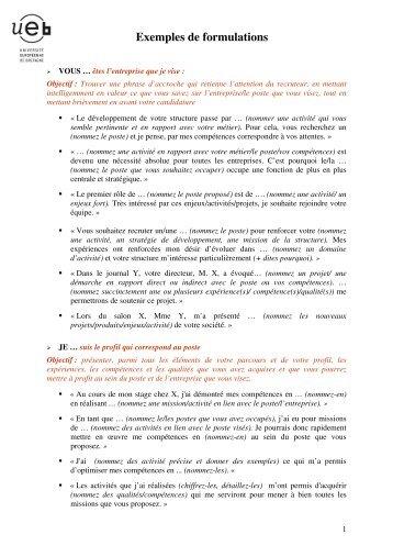 Exemples de formulations - Université Rennes 2