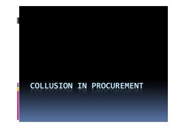 COLLUSION IN PROCUREMENT
