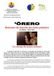 Dossier de presse Orero 2013 - Polynesie 1ère