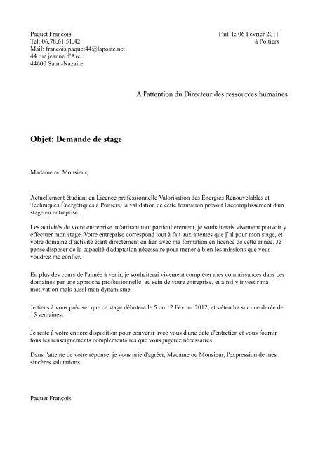 Objet Demande De Stage Le Pole Des Eco Industries