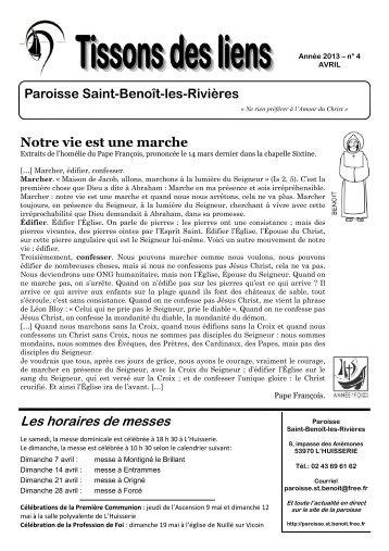 Tissons des Liens - AVRIL 2013 - Paroisse Saint-Benoît-les-Rivières ...