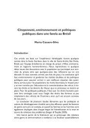 Citoyenneté, environnement et politiques publiques dans une favela ...