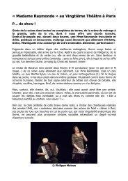 « Madame Raymonde » au Vingtième Théâtre à Paris - Vincent ROCA
