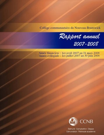 Rapport annuel 2007-2008 - CCNB