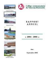 Rapport annuel 2004-2005 - CCNB