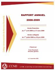RAPPORT ANNUEL 2008-2009 - CCNB