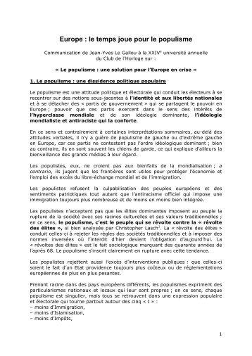 Télécharger la communication de Jean-Yves Le Gallou (pdf)
