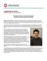 Communiqué de presse - CCNB