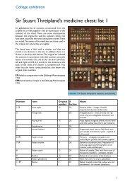 Sir Stuart Threipland's medicine chest: list 1