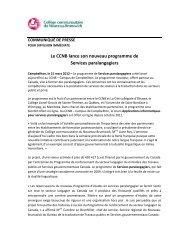 Le CCNB lance son nouveau programme de Services paralangagiers