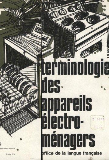 Terminologie des appareils électro-ménagers - Office québécois de ...