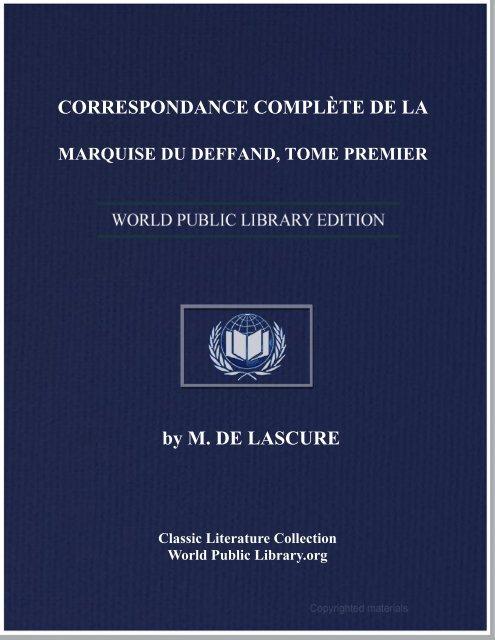correspondance complète de la marquise du deffand, tome premier
