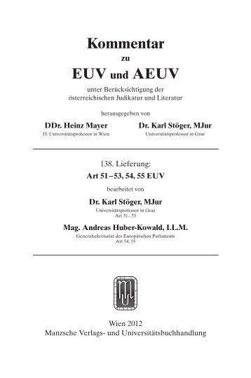Kommentar EUV und AEUV - Manz