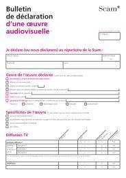 Bulletin de déclaration d'une œuvre audiovisuelle (1) - Scam
