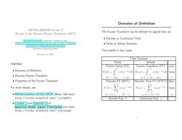 MUS421/EE367B Lecture 2 Review of the Discrete Fourier Transform