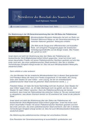 Ministerpräsident Binyamin Netanyahu hat sich zur ... - CD - Mission