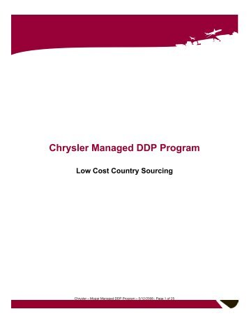 operation management chrysler essay Total quality management total quality management (tqm) is defined as the comprehensive and structured approach to an organization's management that seeks.