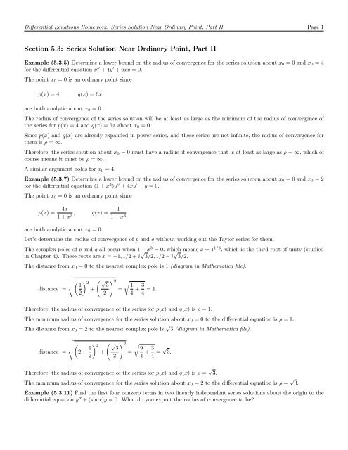 Section 5 3: Series Solution Near Ordinary Point, Part II