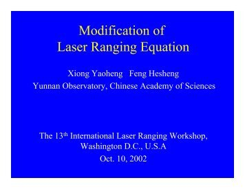 Modification of Laser Ranging Equation