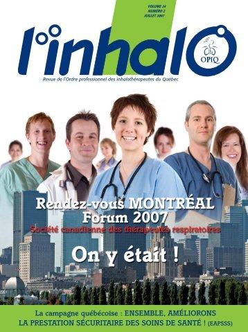Revue de l'Ordre professionnel des inhalothérapeutes du Québec l ...