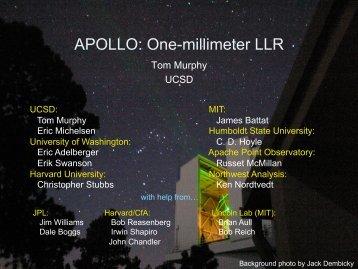 APOLLO: One-millimeter LLR - NASA