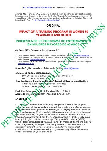 original impact of a training program in women 60 years-old and ...