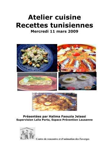 Atelier cuisine Recettes tunisiennes - Centre de Rencontre et d ...