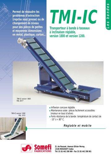 Transporteur à bande à tasseaux à inclinaison réglable, version ...
