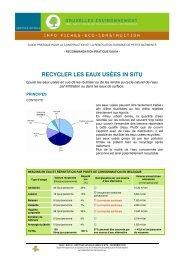 RECYCLER LES EAUX USÉES IN SITU - Bruxelles Environnement