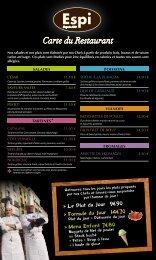 télécharger la carte du restaurant en .pdf. - Maison ESPI