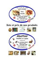 liste et prix de nos produits