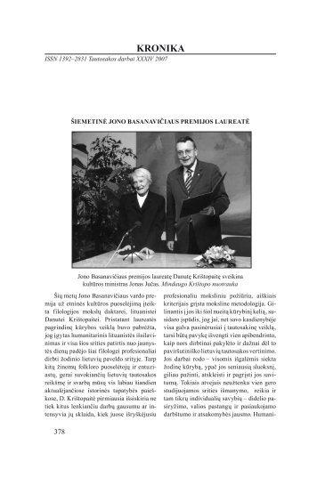 KRONIKA - Lietuvių literatūros ir tautosakos institutas