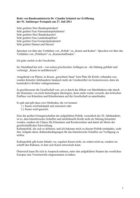 Rede von Bundesministerin Claudia Schmied als PDF